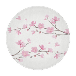 Square- Cherry Blossom - Transparent Background Cutting Board