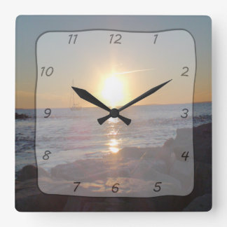 Square Clock with Ocean Sunset & Sailboat Photo