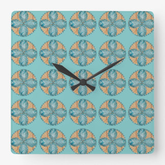 Square Clock with Turquoise Flower Design