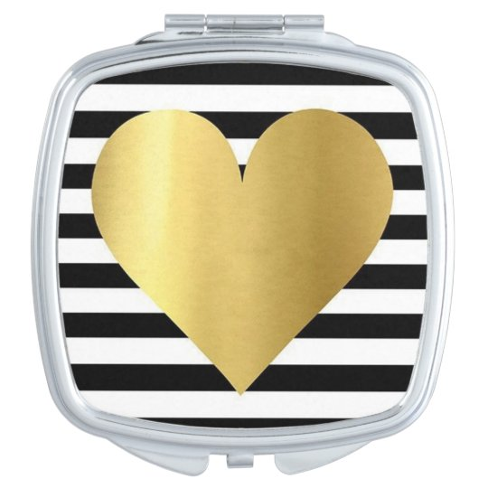 Square Compact Mirror/Gold Heart Makeup Mirror