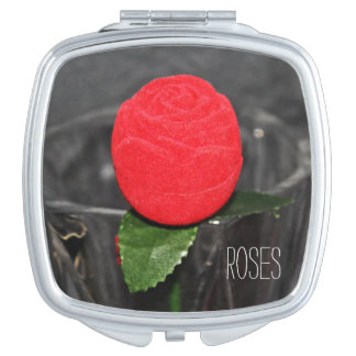 Square compact Mirror Red rose