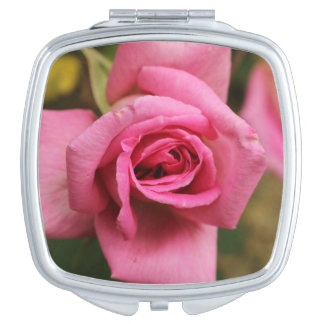 Square Compact Rose Mirror, Pink Rose Travel Mirrors