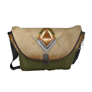 Square & Compass with All Seeing Eye Messenger Bags