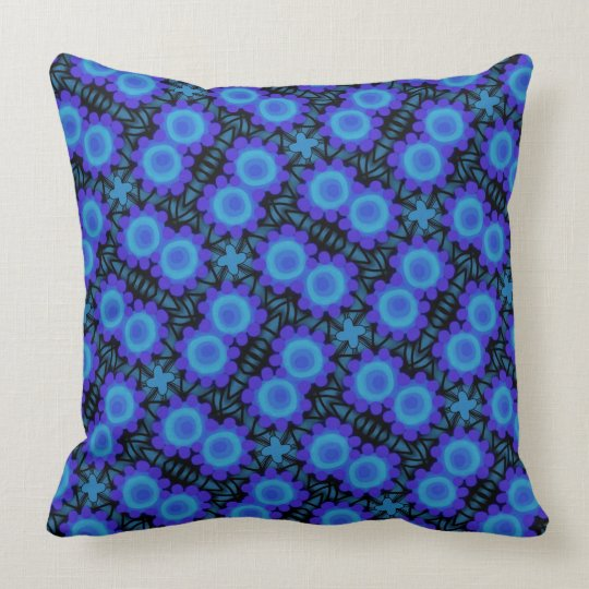 Square cushion Jimette Design blue and black