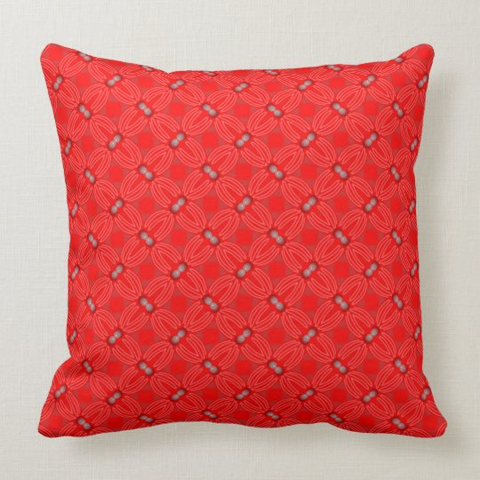 Square cushion Jimette Design red and white.