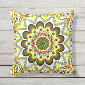 Square cushion of your orange, yellow, red Mandala