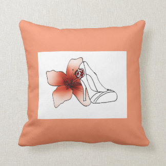 Square cushion pink salmon with court shoe and