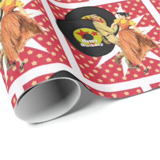 """Square Dance or 50""""s Dancers Happy Birthday Wrapping Paper"""