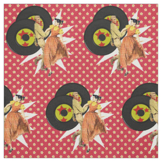 Square Dancers Or Swing Dancers With Records Pirnt Fabric