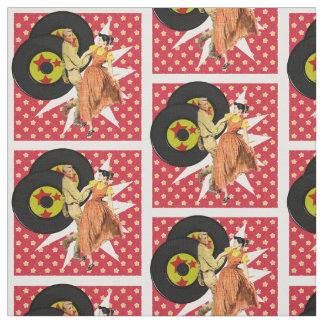 Square Dancers Or Swing Dancers With Records White Fabric