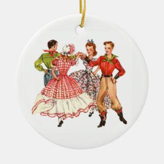 Square Dancing Ceramic Ornament