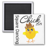 Square Dancing Chick Square Magnet
