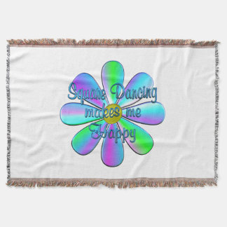 Square Dancing Happy Throw Blanket