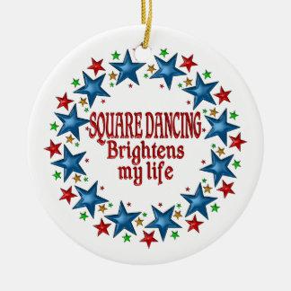 Square Dancing Stars Round Ceramic Ornament