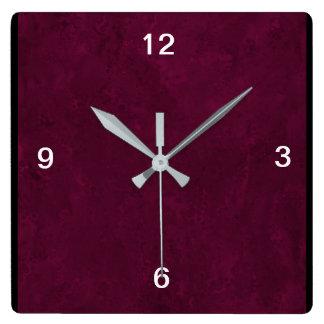 Square Deep Red Designer Clock