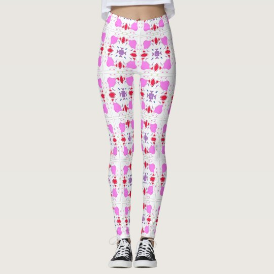 Square Design with Pink, Purple, & White Leggings