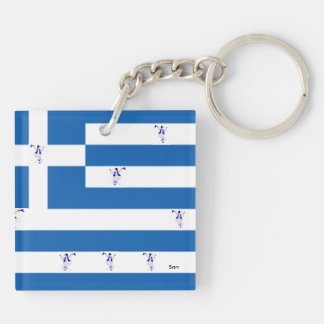 Square (double-sided) Keychain/Greek Flag /Evzones Keychain