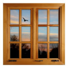 Square Faux Window Illusion - Flying Bird Poster