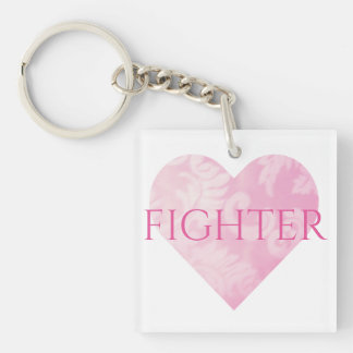Square Fighter Pink Heart Keychain, Customizable Double-Sided Square Acrylic Keychain