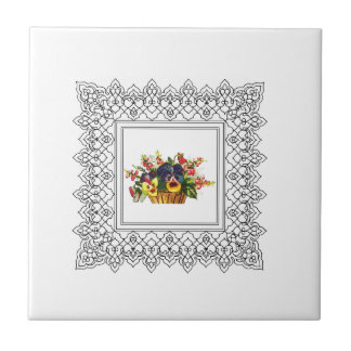 square floral frame ceramic tiles