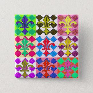 Square Fluer de Lys 2 Inch Square Button