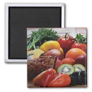 Square Fruit Nuts and Vegetable Magnet