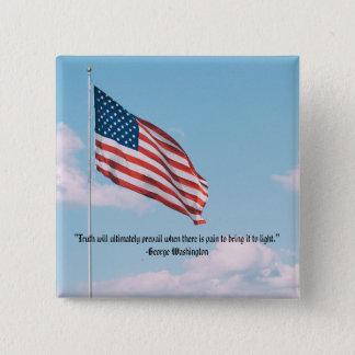 Square George Washington Button: Truth 2 Inch Square Button