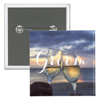 Square Groom Sunset On The Beach Wedding Buttons
