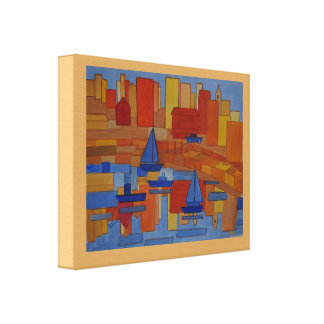 Square Harbor abstract art Canvas Print