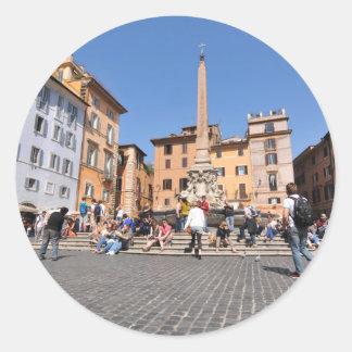 Square in Rome, Italy Classic Round Sticker