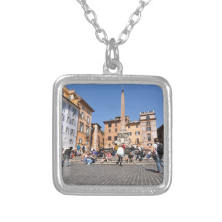 Square in Rome, Italy Silver Plated Necklace