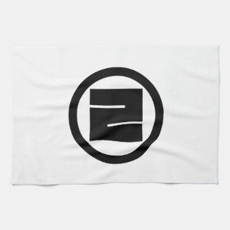 Square kanji character for ONE in circle Kitchen Towel