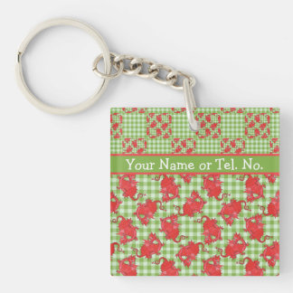 Square Keyring to Personalize: Cute Red Dragons Acrylic Keychain