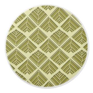 Square Leaf Pattern Gold Lime Light Ceramic Knob