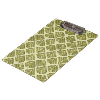 Square Leaf Pattern Gold Lime Light Clipboard