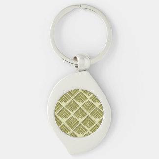 Square Leaf Pattern Gold Lime Light Keychain