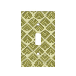 Square Leaf Pattern Gold Lime Light Light Switch Cover