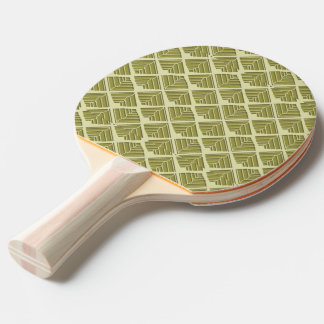 Square Leaf Pattern Gold Lime Light Ping Pong Paddle