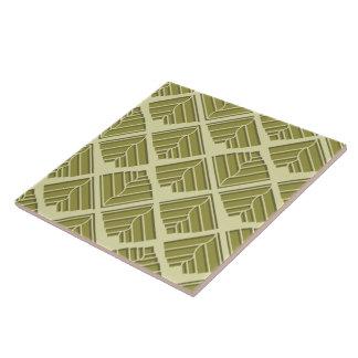 Square Leaf Pattern Gold Lime Light Tile