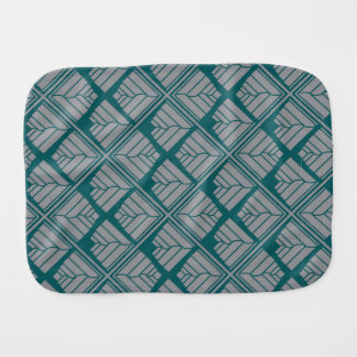 Square Leaf Pattern Teal Neutral Burp Cloth