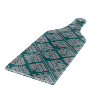 Square Leaf Pattern Teal Neutral Cutting Board