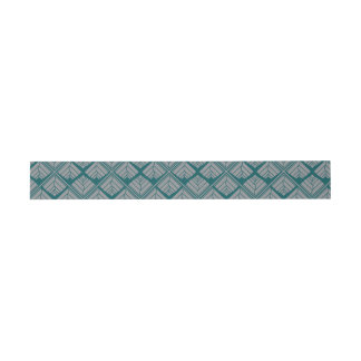 Square Leaf Pattern Teal Neutral Invitation Belly Band