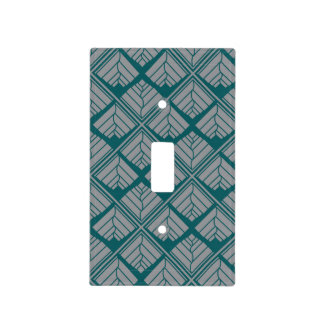 Square Leaf Pattern Teal Neutral Light Switch Cover