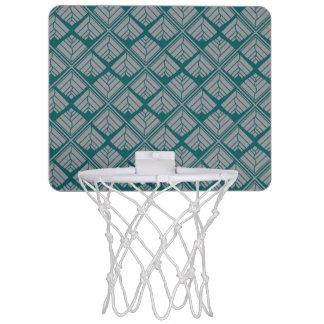 Square Leaf Pattern Teal Neutral Mini Basketball Hoop