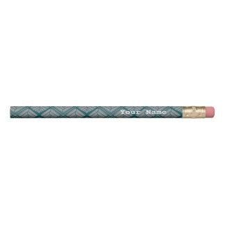 Square Leaf Pattern Teal Neutral Pencil