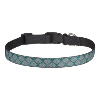 Square Leaf Pattern Teal Neutral Pet Collar