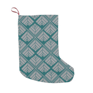 Square Leaf Pattern Teal Neutral Small Christmas Stocking