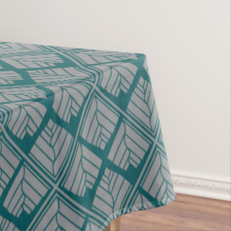 Square Leaf Pattern Teal Neutral Tablecloth