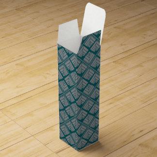 Square Leaf Pattern Teal Neutral Wine Gift Box