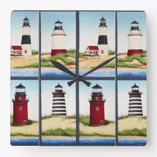 Square Lighthouse Wall Clock